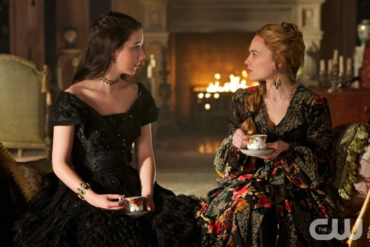 Pictured: (L-R) Adelaide Kane as Mary Queen of Scotland and France and Celina Sinden as Greer Photo Credit: Sven Frenzel/The CW