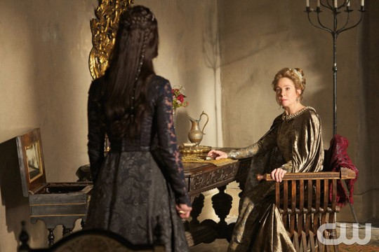 Pictured: Adelaide Kane as Mary Queen of Scotland and France (back to camera) and Megan Follows as Catherine de Medici Photo Credit: Sven Frenzel. The CW