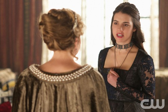 Pictured: Megan Follows as Catherine de Medici (bakc to camera) and Adelaide Kane as Mary Queen of Scotland and France Photo Credit: Sven Frenzel. The CW