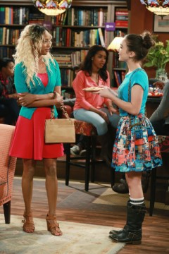"""GIRL MEETS WORLD - """"Girl Meets Hurricane"""" - Cory and Shawn take the girls out for a fun night. But just as Maya feels closer to Shawn, someone from his past comes back into his life and risks ruining everything. This episode of """"Girl Meets World"""" airs Friday, June 19 (8:30 PM - 9:00 PM ET/PT), on Disney Channel. (Disney Channel/Ron Tom) TRINA MCGEE, ROWAN BLANCHARD"""