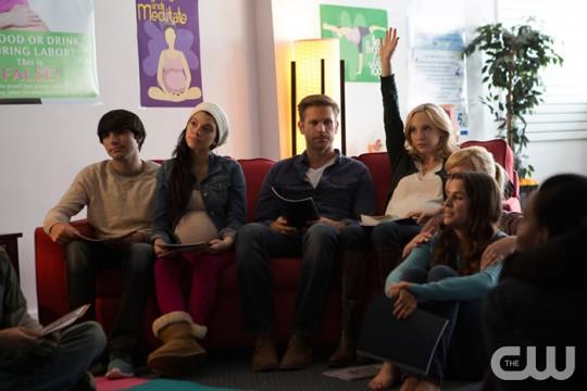 Pictured (right center): Matt Davis as Alaric and Candice King as Caroline Photo Credit: Eli Joshua Ade/The CW