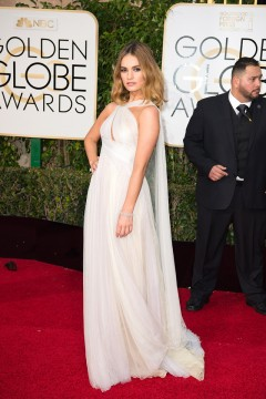 Lily James 2016 Golden Globes Dress
