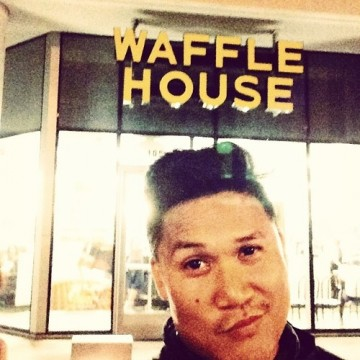 Basco's first trip to Waffle House in Atlanta, May 25th 2014.