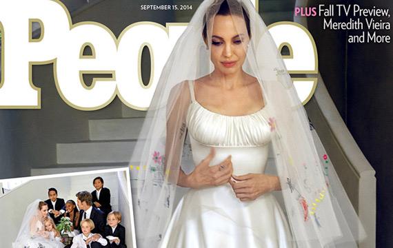 Angelina Jolie Debuts Wedding Dress Featuring Her Childrens' Artwork