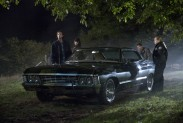 Pictured: (L-R) Jared Padalecki as Sam, Kim Rhodes as Sheriff Jody Mills, Jensen Ackles as Dean and Briana Buckmaster as Sheriff Donna Hanscum Photo Credit: Katie Yu/ The CW