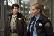 Pictured: (L-R) Kim Rhodes as Sheriff Jody Mills and Brianna Buckmaster as Sheriff Donna Hanscum Photo Credit: Katie Yu/ The CW
