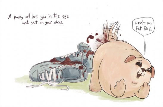 Puppies Are Dicks Illustration