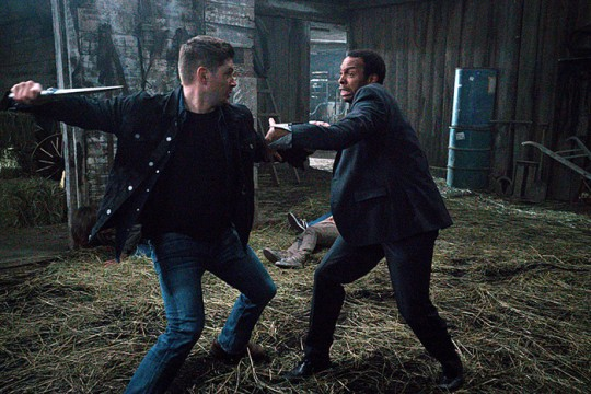 Pictured: (L-R)Jensen Ackles as Dean and Treva Etienne as Tamiel Photo Credit: Liane Hentscher/ The CW