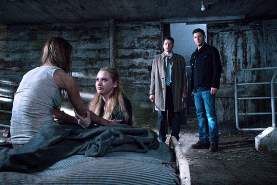 Pictured: (L-R) Kathryn Newton as Claire Novak, Misha Collins as Castiel and Jensen Ackles as Dean Photo Credit: Liane Hentscher/ The CW