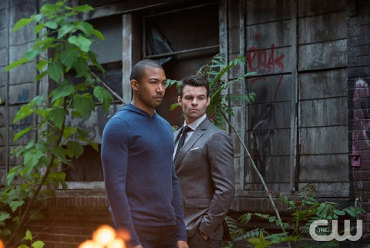Pictured: Charles Michael Davis as Marcel and Daniel Gillies as Elijah Photo Credit: Annette Brown/ The CW