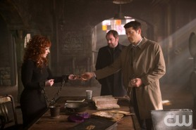 Pictured: (L-R) Ruth Connell as Rowena, Mark Sheppard as Crowley and Misha Collins as Castiel Photo Credit: Diyah Pera/ The CW