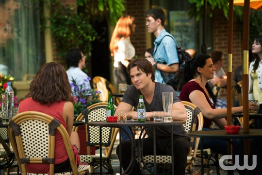 Pictured (L-R): Kat Graham as Bonnie (back to camera) and Ian Somerhalder as Damon Photo: Bob Mahoney/The CW