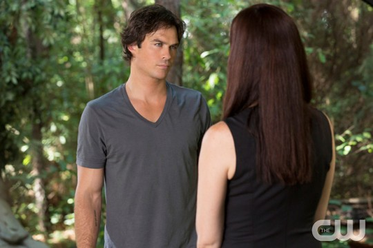 Pictured (L-R): Ian Somerhalder as Damon and Annie Wersching as Lily Photo Credit: Bob Mahoney/The CW