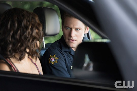 Pictured (L-R): Kat Graham as Bonnie and Zach Roerig as Matt Photo Credit: Bob Mahoney/The CW
