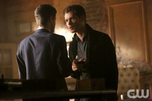 Pictured (L-R): Oliver Ackland as Tristan (back to camera) and Joseph Morgan as Klaus