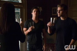 Pictured (L-R): Annie Wersching as Lily (back to camera), Ian Somerhalder as Damon and Paul Wesley as Stefan Photo Credit: Annette Brown/The CW