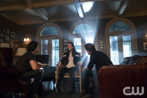 Pictured (L-R): Ian Somerhalder as Damon, Annie Wersching as Lily and Paul Wesley as Damon Photo Credit: Annette Brown/The CW