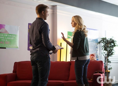 Pictured (L-R): Matt Davis as Alaric and Candice King as Caroline Photo Credit: Eli Joshua Ade/The CW