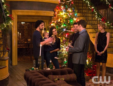 Pictured (L-R): Nathan Parsons as Jackson, Phoebe Tonkin as Hayley, Daniel Gillies as Elijah, Joseph Morgan as Klaus and Riley Voelkel as Freya Photo Credit: Eli Joshua Ade/The CW