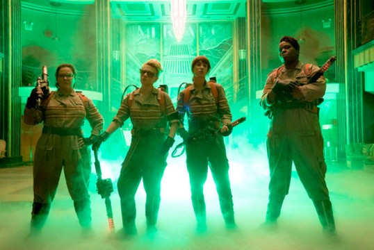 Pictured: (L-R) Melissa McCarthy as Abby Yates, Kate McKinnon as Jillian Holtzmann, Kristen Wigg as Erin Gilbert and Leslie Jones as Patty Tolan Photo Credit: Sony