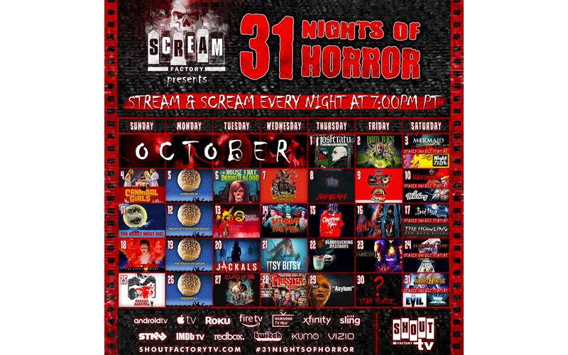 Scream Factory, Shout! Factory TV Host '31 Nights of Horror' Streaming Every Night in October!